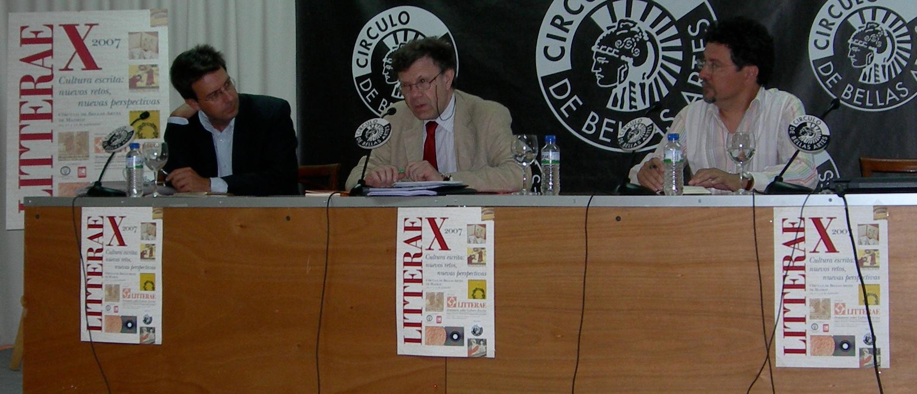 Enrique Villalba, Roger Chatier y Emilio Torné en la clausura de Litterae X